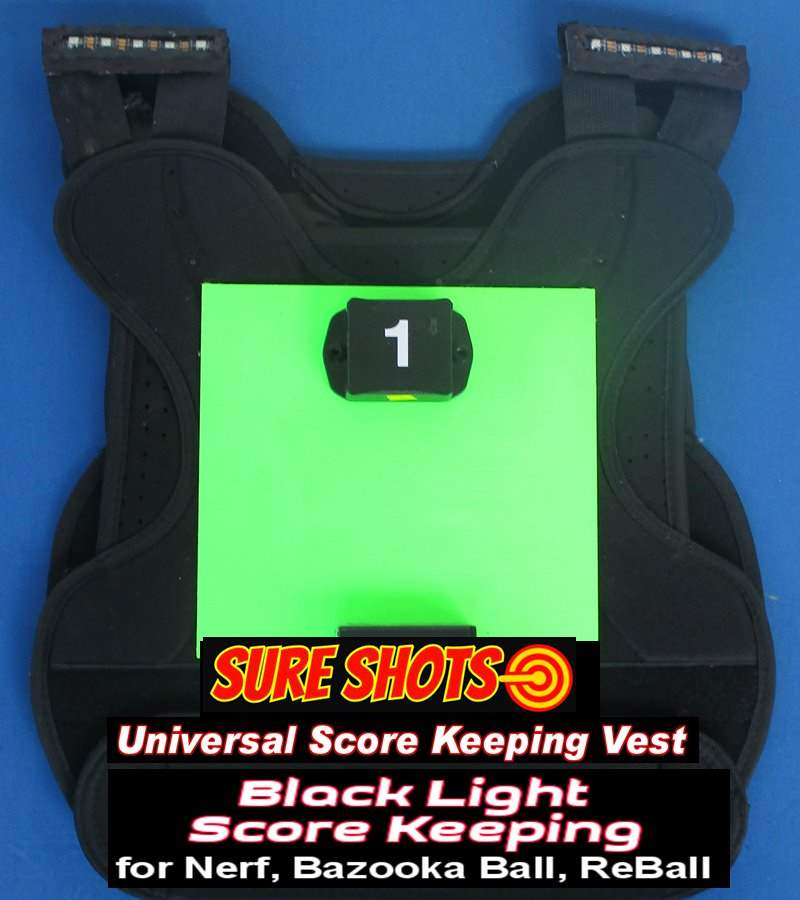 12 Blacklight Paintball Score Keeping Vests
