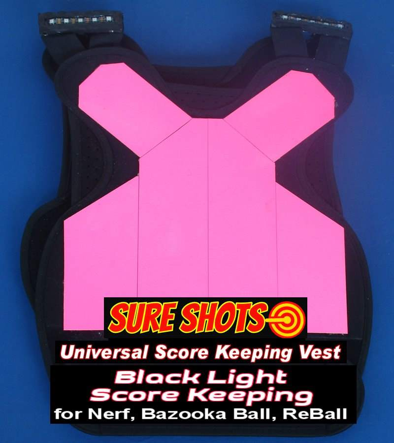20 Black Light Paintless Paintball Score Keeping Vest