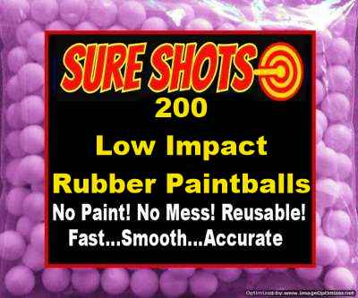 Low Impact Rubber Paintballs 200 Pack