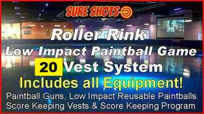 Low Impact Paintball System for Roller Rinks - 20 Guns