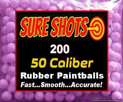 200 Rubber Paintballs for 50 Caliber Paintball Guns
