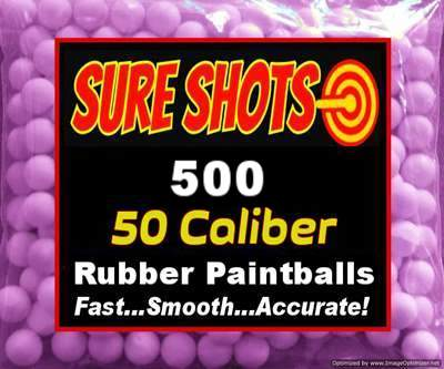 500 Rubber Paintballs for 50 Caliber Low Impact Paintball Gun