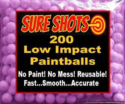 Low Impact Reusable Paintballs - 200 Balls
