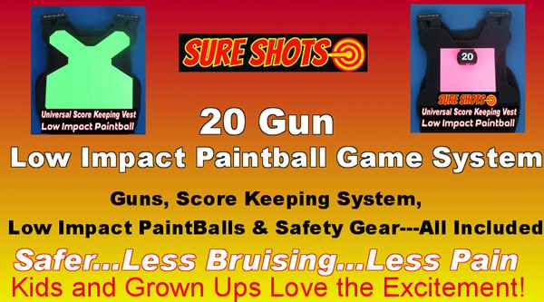 Low Impact Paintball for Family Fun Centers - 20 Vests