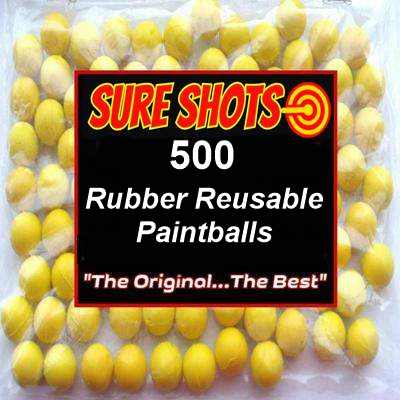 68 Cal Rubber Reusable Paintballs 500 pack